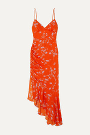 Asymmetric ruched floral-print silk crepe de chine dress
