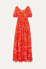 Ruffled floral-print silk-chiffon maxi dress