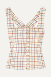 Button-detailed checked Tencel-blend top