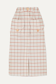 Nicholas Checked Tencel-blend midi skirt