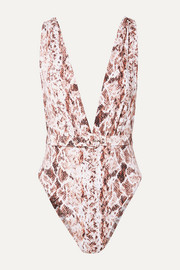 Belted snake-print swimsuit