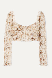 Gathered snake-print silk-chiffon top