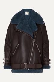 아크네 스튜디오 Acne Studios Velocite two-tone shearling-trimmed leather biker jacket