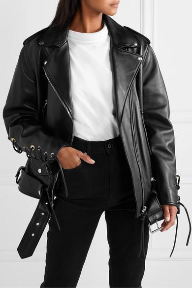 cheap prices buy cheap clearance sale Acne Studios | Veste motarde oversize en cuir à lacets ...