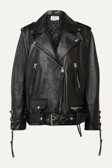 Lastrid Oversized Lace Up Leather Biker Jacket by Acne Studios