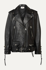 Lastrid oversized lace-up leather biker jacket