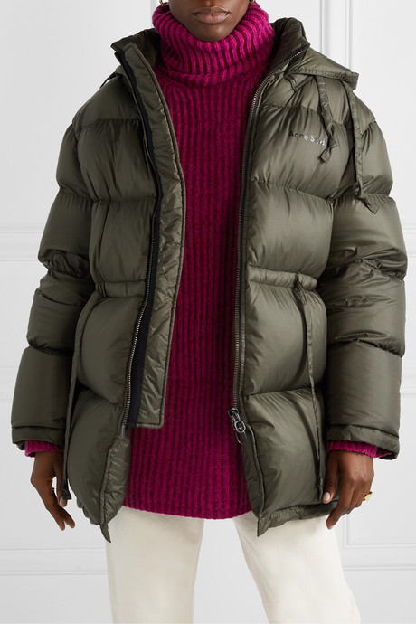 Oversized hooded quilted shell down jacket