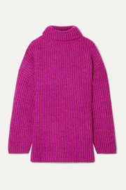 Disa oversized ribbed mélange wool turtleneck sweater