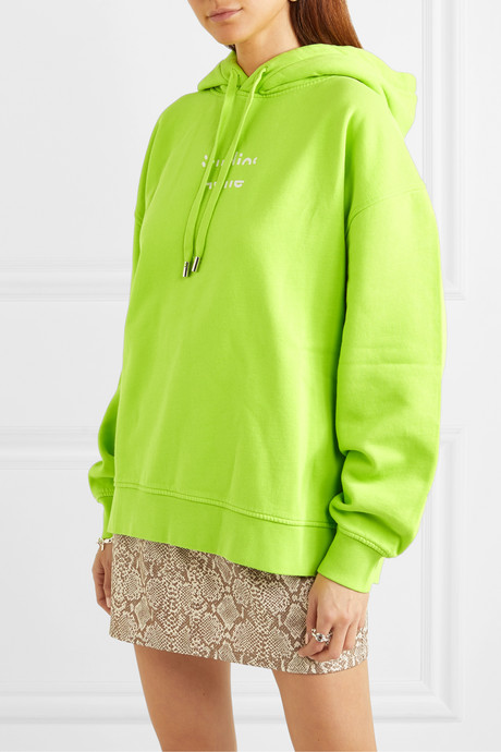 Fyola neon printed cotton-jersey hoodie