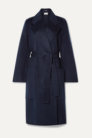 Carice belted double-breasted wool coat