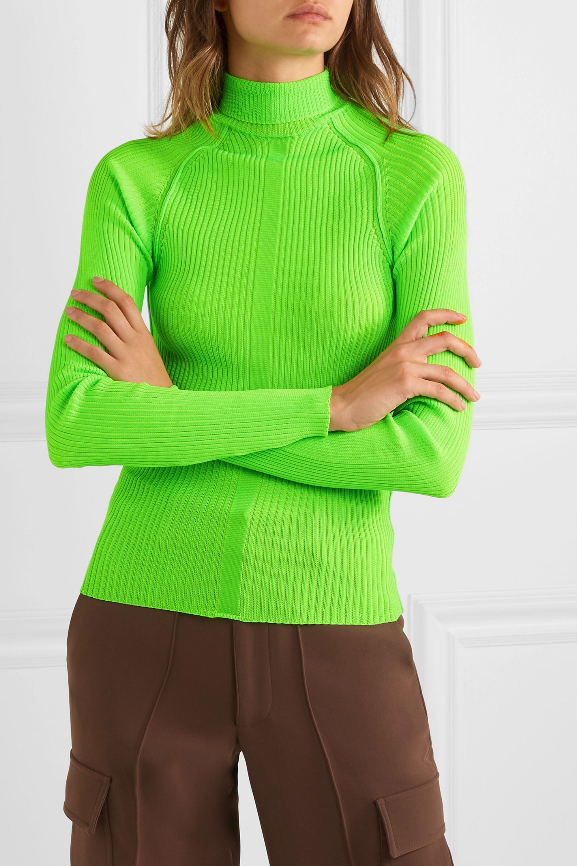 Acne Studios Komina neon ribbed-knit turtleneck sweater