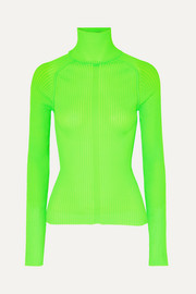 Komina neon ribbed-knit turtleneck sweater