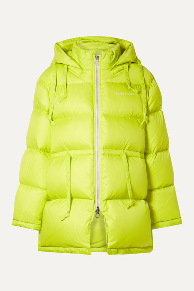 Acne Studios Jackets Oversized hooded quilted neon shell down jacket
