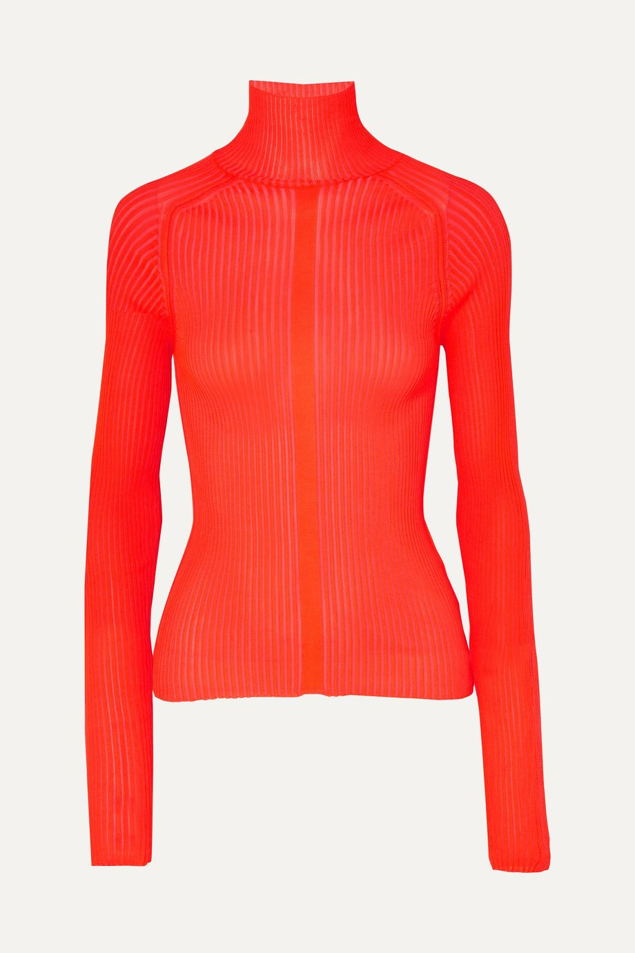 Acne Studios Komina neon ribbed-knit turtleneck sweater