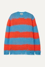 아크네 스튜디오 Acne Studios Kantonia distressed striped knitted sweater
