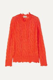아크네 스튜디오 Acne Studios Kelenal frayed cable-knit sweater
