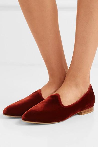 Le Monde Beryl – Venetian Velvet Loafers – Claret Red