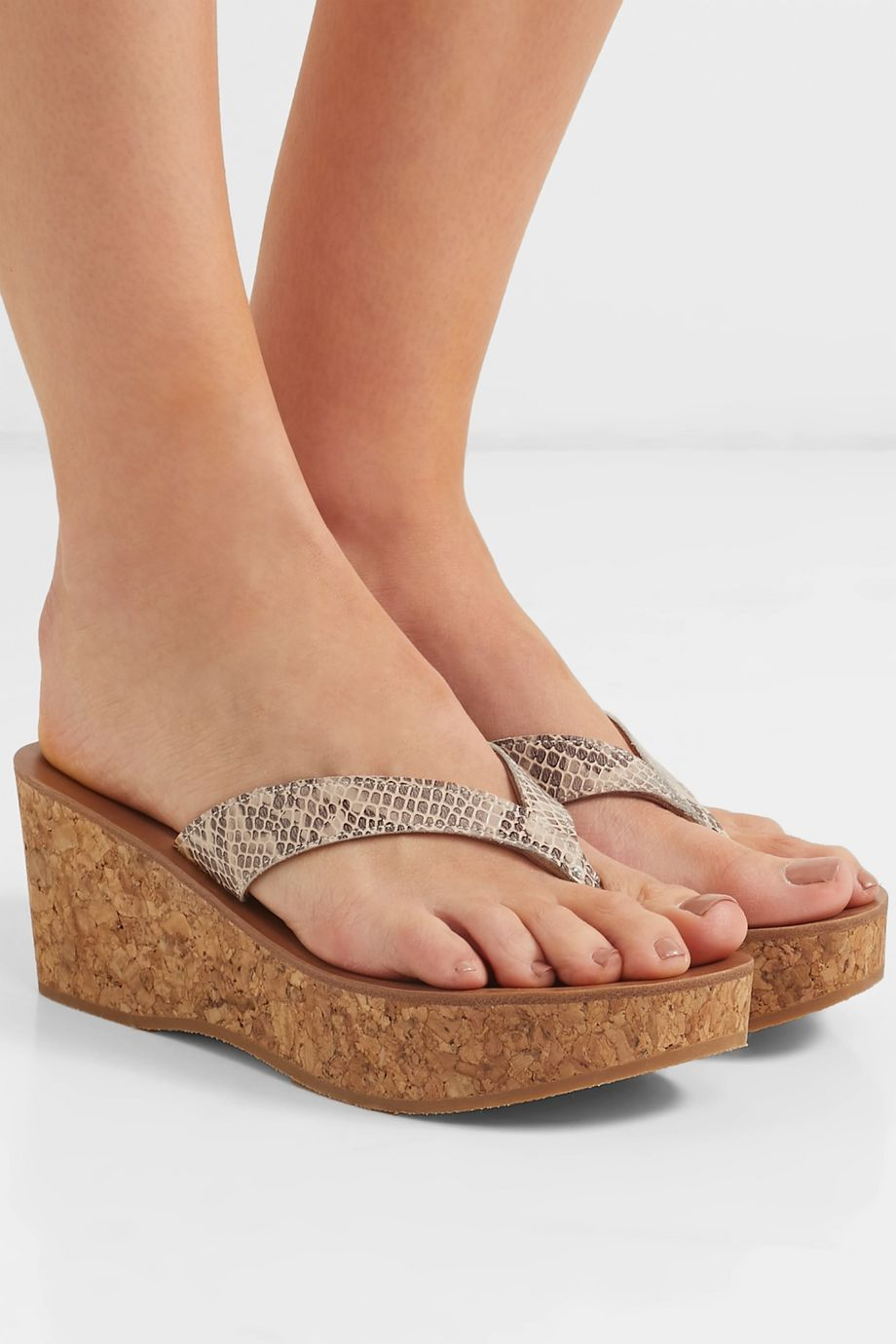 K Jacques St Tropez Diorite snake-effect leather wedge sandals