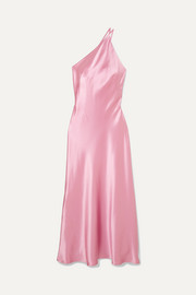 Galvan Roxy one-shoulder silk-satin maxi dress