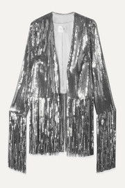 Stardust fringed sequined tulle jacket