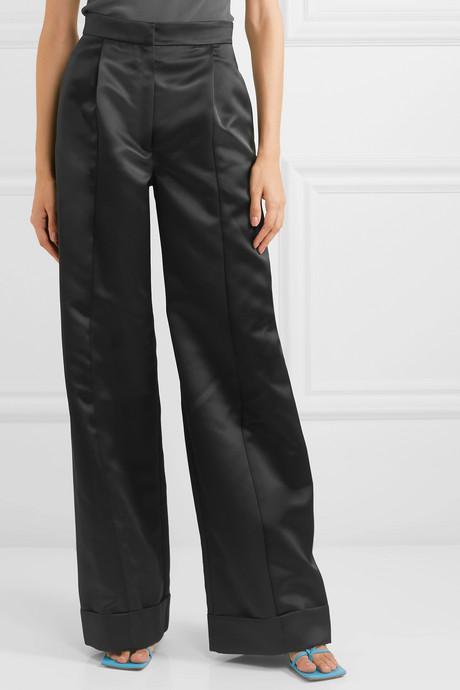 The Julia duchesse-satin wide-leg pants