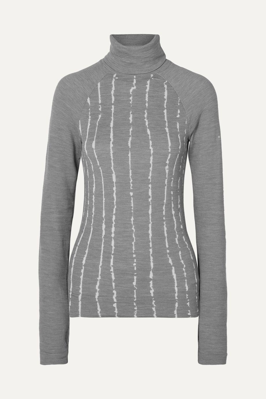FALKE Ergonomic Sport System Striped wool-blend turtleneck top