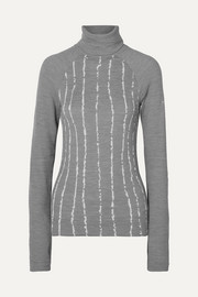 Striped wool-blend turtleneck top