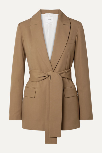 Belted Grain De Poudre Wool Blazer by Casasola