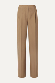 Pleated grain de poudre wool straight-leg pants
