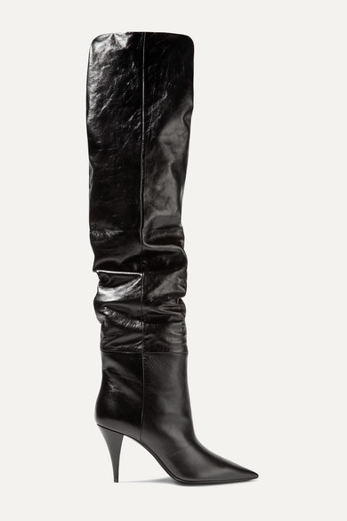 Kiki Textured Leather Over The Knee Boots by Saint Laurent
