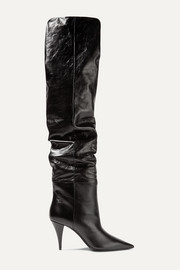Kiki textured-leather over-the-knee boots