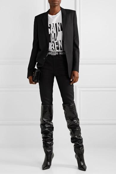 SAINT LAURENT | Kiki textured-leather over-the-knee boots
