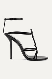 SAINT LAURENT Cassandra logo-embellished patent-leather sandals