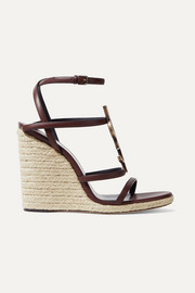 Logo-embellished leather espadrille wedge sandals
