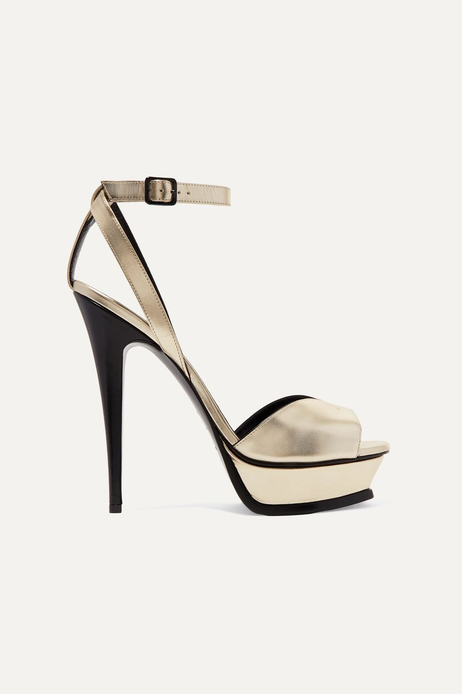 SAINT LAURENT Tribute metallic leather platform sandals