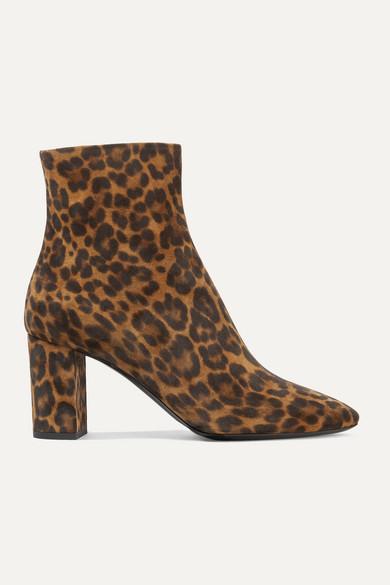 Lou Leopard Print Suede Ankle Boots by Saint Laurent
