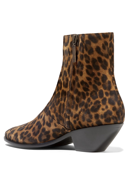 SAINT LAURENT West leopard-print suede ankle boots