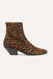 SAINT LAURENT West leopard-print suede ankle boots