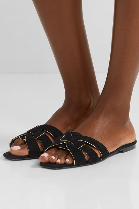 Nu Pieds suede and leather slides
