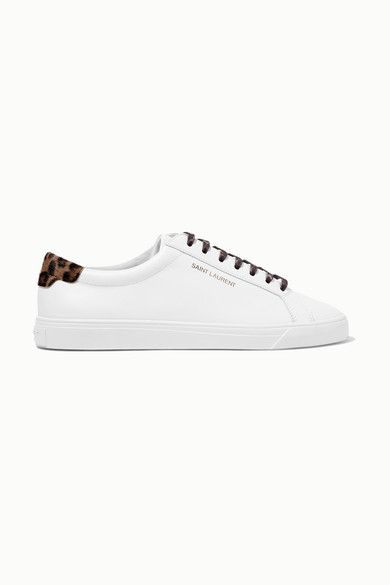 Andy Sneakers Aus Leder Mit Kalbshaarbesatz by Saint Laurent