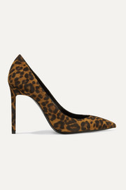 SAINT LAURENT Anja leopard-print suede pumps