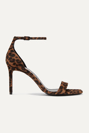 SAINT LAURENT Amber leopard-print suede sandals