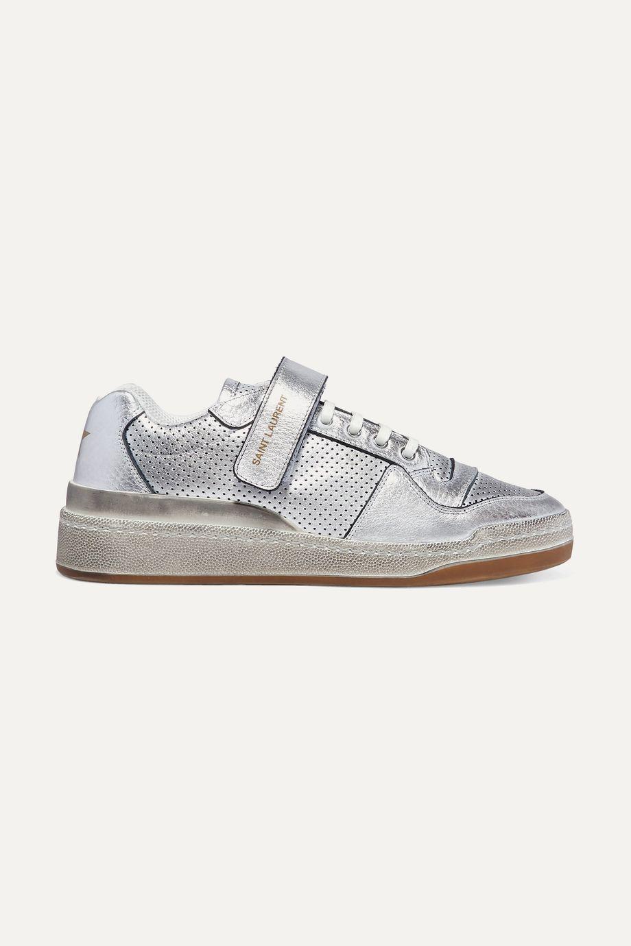 SAINT LAURENT Travis logo-print distressed perforated metallic leather sneakers