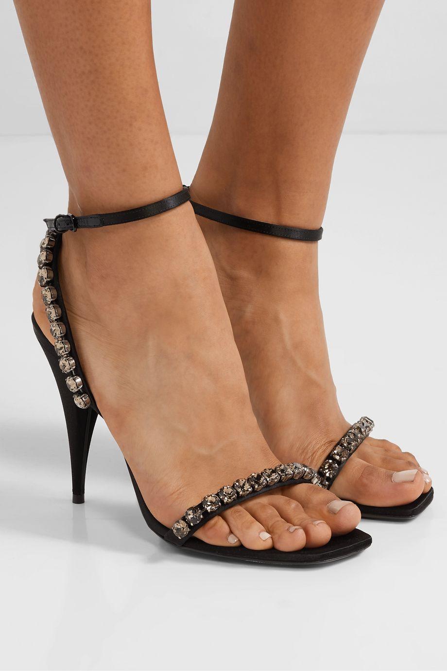 SAINT LAURENT Kiki crystal-embellished leather-trimmed satin sandals