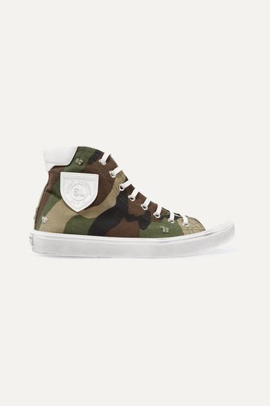 Saint Laurent Bedford Logo-AppliquÉD Distressed Printed Canvas High-Top Sneakers In Army Green
