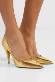 Kiki mirrored-leather pumps