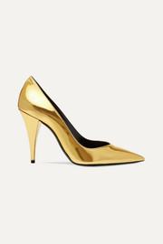 SAINT LAURENT Kiki mirrored-leather pumps