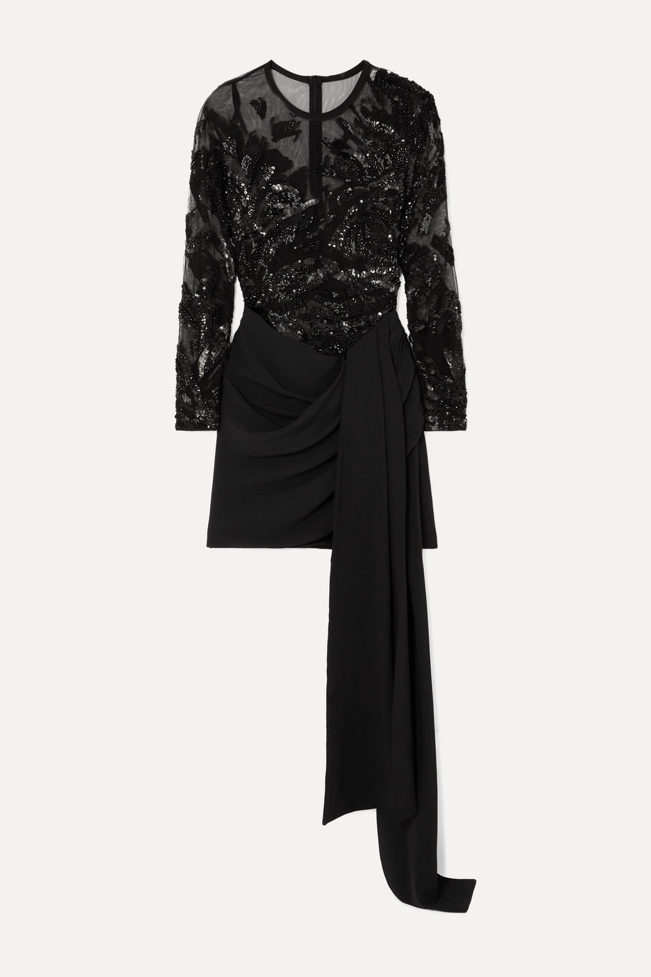 Elie Saab Sequin-embellished tulle and draped cady mini dress