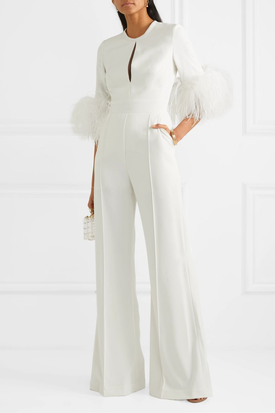 Elie Saab Feather-trimmed cady jumpsuit