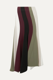 Paneled asymmetric striped cady skirt